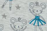 Alpenfleece bedrukt glitter AG42 Ballerina Mouse_