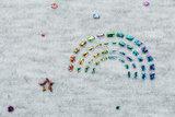 Alpenfleece bedrukt glitter rainbow dew drop AG79_