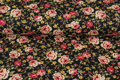 Katoen Poplin bedrukt roses JS177