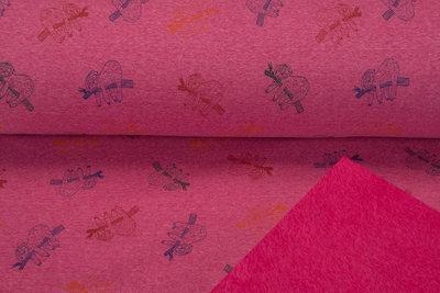 Alpenfleece bedrukt sloth roze mêlee NA613
