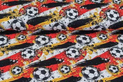 Katoenen Tricot bedrukt football