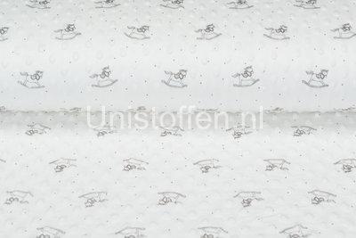 Minky Fleece bedrukt Rocking Horse Off-white
