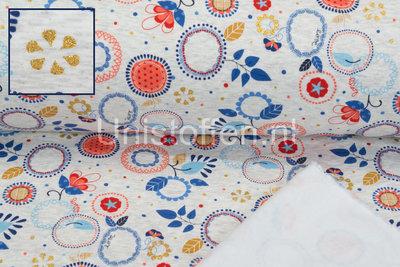 Alpenfleece bedrukt Glitter AG11 Circle Flower